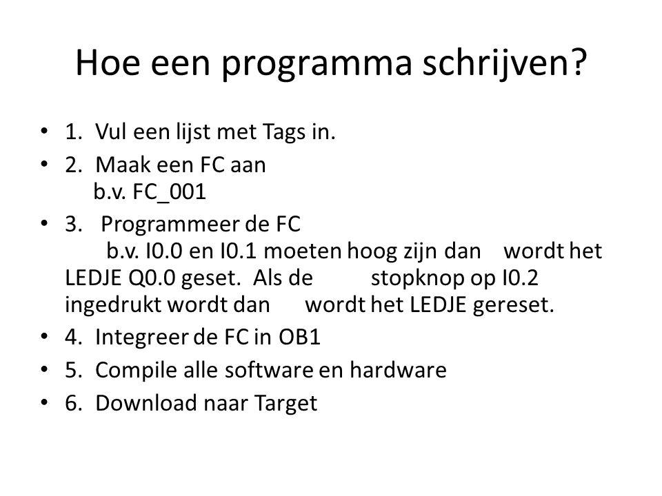 Hoe een programma schrijven? 1. Vul een lijst met Tags in. 2. Maak een FC aan b.v. FC_001 3. Programmeer de FC b.v. I0.0 en I0.1 moeten hoog zijn dan