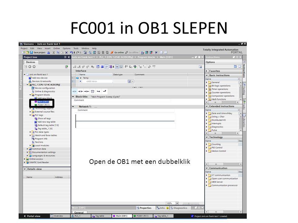 FC001 in OB1 SLEPEN Open de OB1 met een dubbelklik