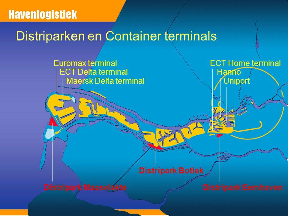 Distripark Maasvlakte Distripark Botlek Distripark Eemhaven Euromax terminal ECT Delta terminal Maersk Delta terminal ECT Home terminal Hanno Uniport