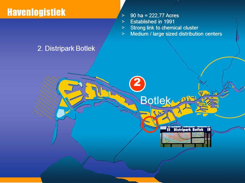 2. Distripark Botlek Botlek >90 ha = 222,77 Acres >Established in 1991 >Strong link to chemical cluster >Medium / large sized distribution centers 2