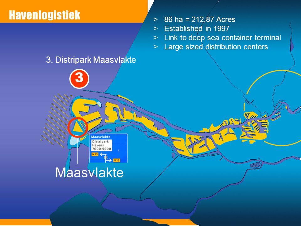 3. Distripark Maasvlakte Maasvlakte >86 ha = 212,87 Acres >Established in 1997 >Link to deep sea container terminal >Large sized distribution centers