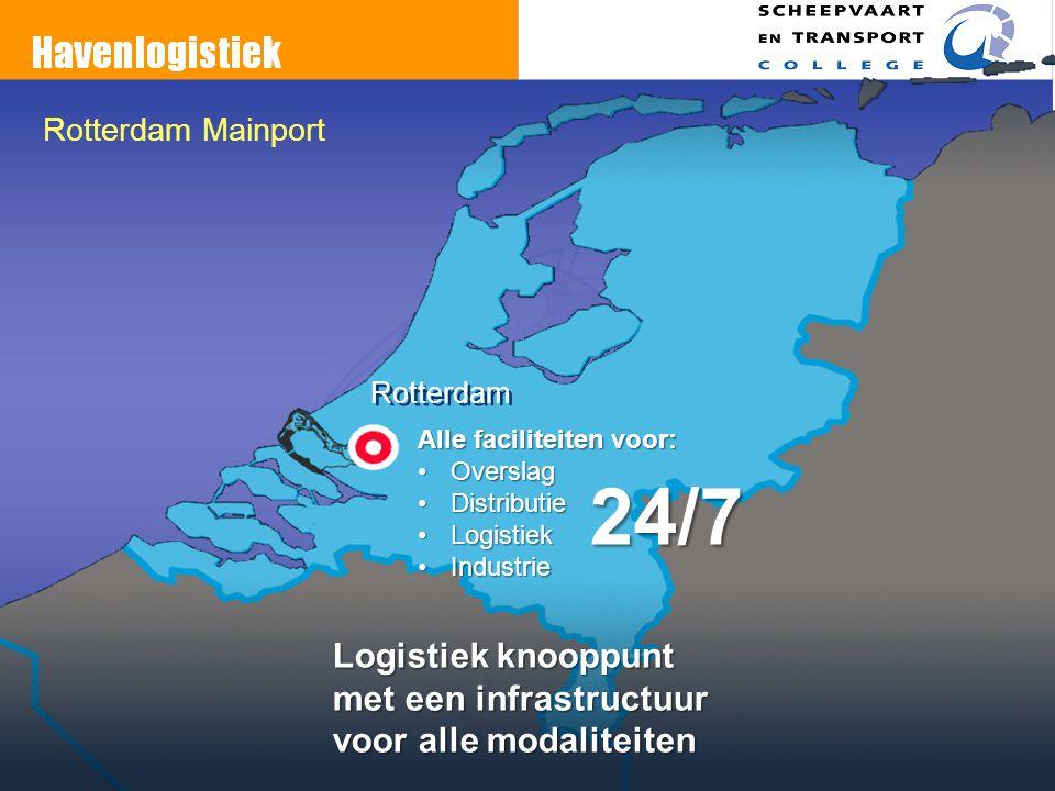 Rotterdam Mainport Rotterdam Alle faciliteiten voor: OverslagOverslag DistributieDistributie LogistiekLogistiek IndustrieIndustrie 24/7 Logistiek knoo