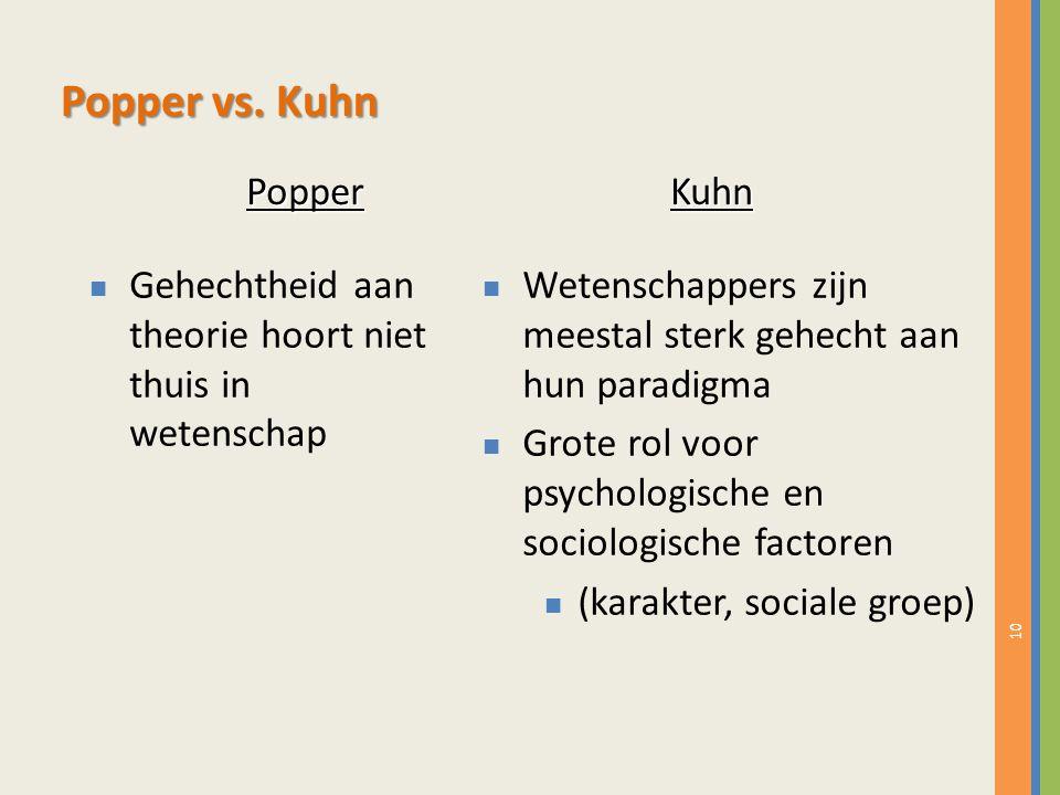 10 n Gehechtheid aan theorie hoort niet thuis in wetenschap n Wetenschappers zijn meestal sterk gehecht aan hun paradigma n Grote rol voor psychologische en sociologische factoren n (karakter, sociale groep) Popper vs.