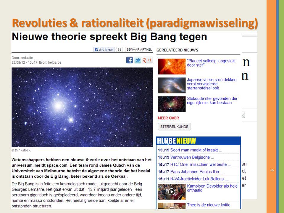 6 Meeste wetenschap speelt zich af binnen een bestaand paradigma  normale wetenschap Een paradigma is succesvol als het de grote meerderheid van de fenomenen omvat.