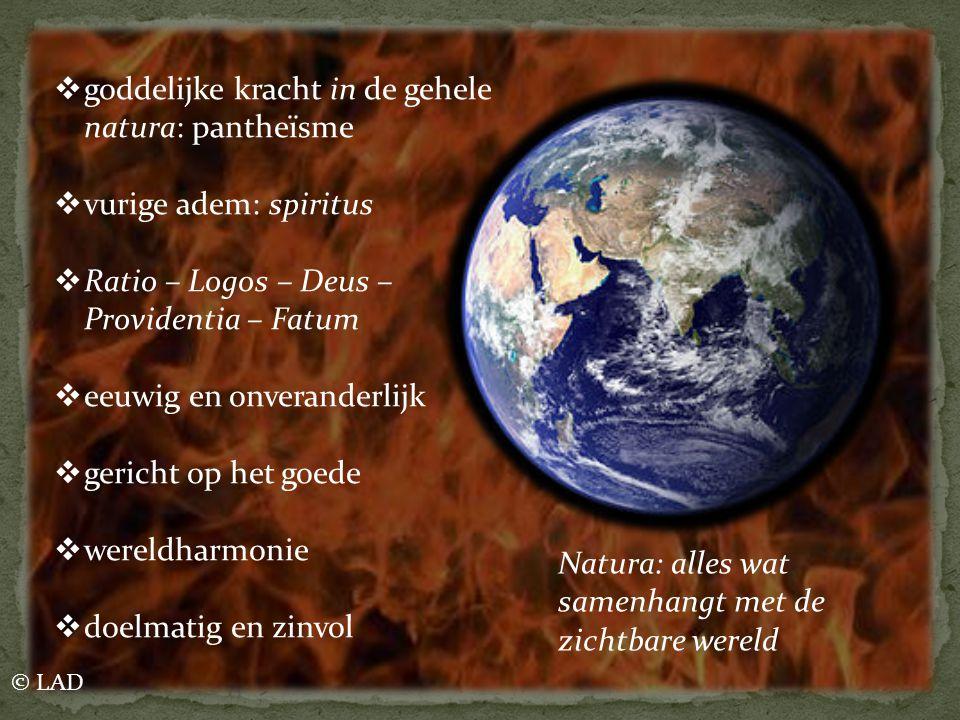  goddelijke kracht in de gehele natura: pantheïsme  vurige adem: spiritus  Ratio – Logos – Deus – Providentia – Fatum  eeuwig en onveranderlijk 