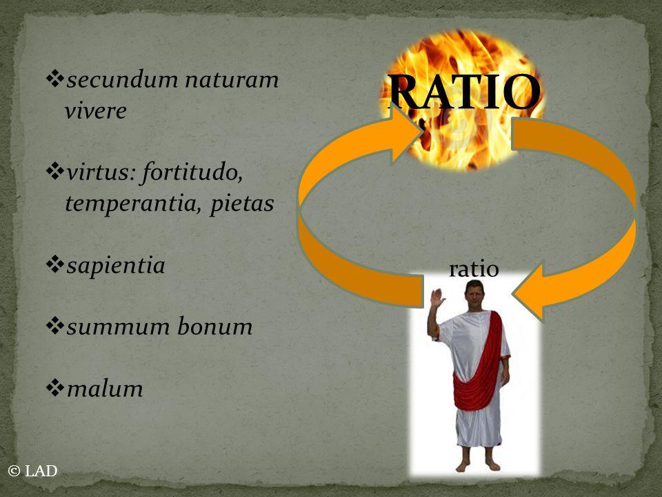 RATIO ratio  secundum naturam vivere  virtus: fortitudo, temperantia, pietas  sapientia  summum bonum  malum © LAD