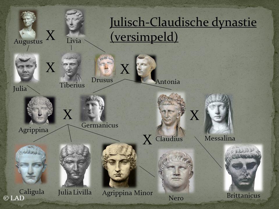 X X X X X Augustus Livia Julia Tiberius Drusus Antonia Agrippina Germanicus Caligula Julia Livilla Agrippina Minor Brittanicus Claudius Messalina Juli