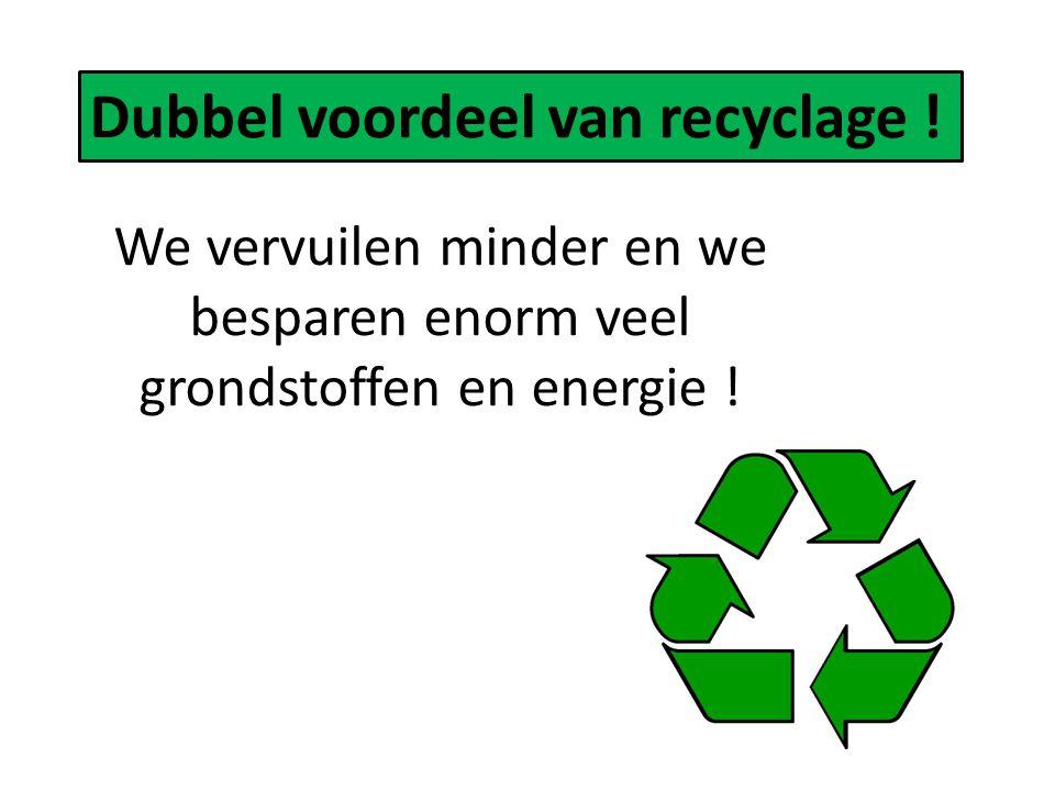Dubbel voordeel van recyclage ! We vervuilen minder en we besparen enorm veel grondstoffen en energie !