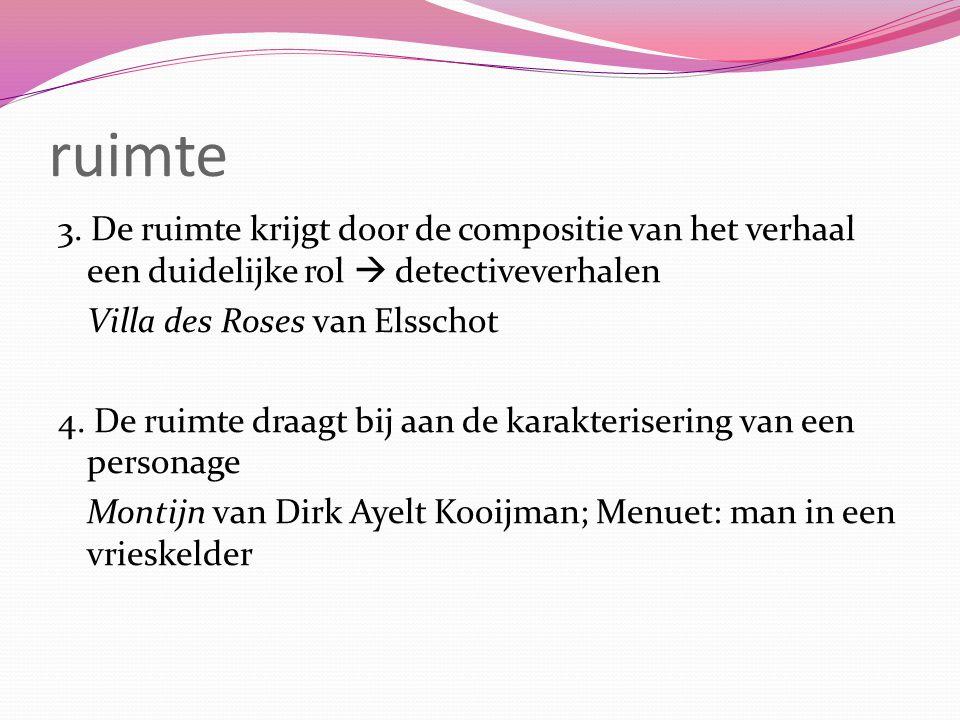 ruimte 3. De ruimte krijgt door de compositie van het verhaal een duidelijke rol  detectiveverhalen Villa des Roses van Elsschot 4. De ruimte draagt