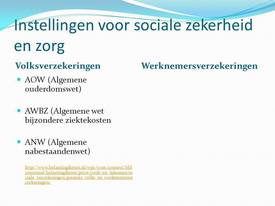 Instellingen voor sociale zekerheid en zorg Volksverzekeringen Werknemersverzekeringen AOW (Algemene ouderdomswet) AWBZ (Algemene wet bijzondere ziekt