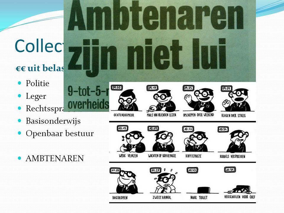 Collectieve sector €€ uit belastingen €€ uit sociale premies Politie Leger Rechtsspraak Basisonderwijs Openbaar bestuur AMBTENAREN Uitkeringen
