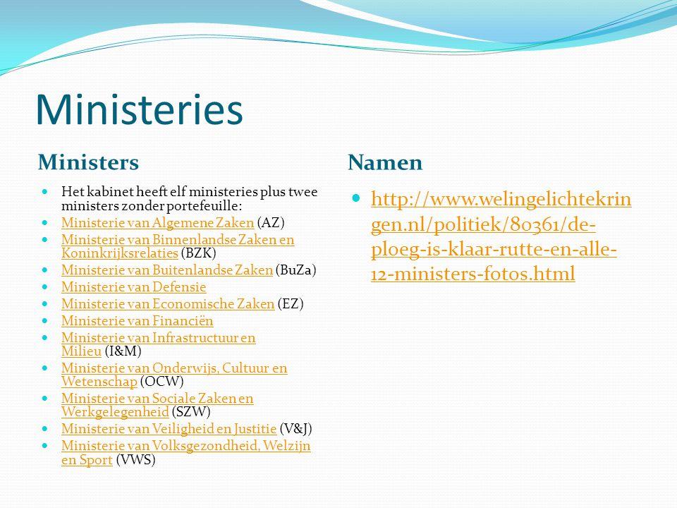 Ministeries Ministers Namen Het kabinet heeft elf ministeries plus twee ministers zonder portefeuille: Ministerie van Algemene Zaken (AZ) Ministerie v