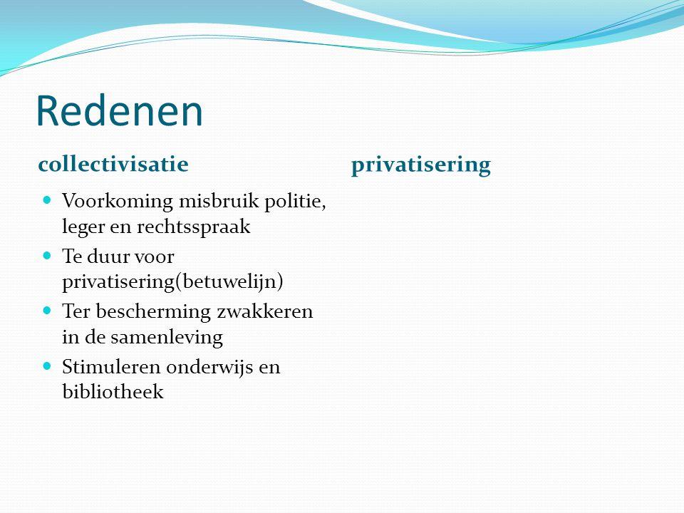 Redenen collectivisatie privatisering Voorkoming misbruik politie, leger en rechtsspraak Te duur voor privatisering(betuwelijn) Ter bescherming zwakke