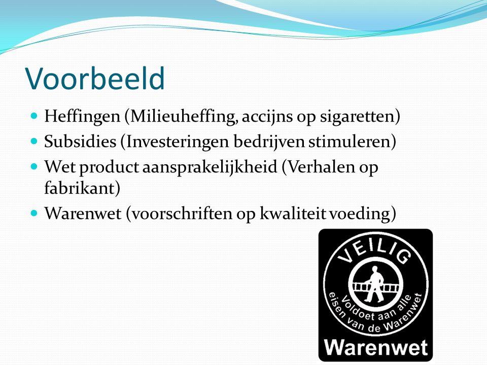 Voorbeeld Heffingen (Milieuheffing, accijns op sigaretten) Subsidies (Investeringen bedrijven stimuleren) Wet product aansprakelijkheid (Verhalen op f