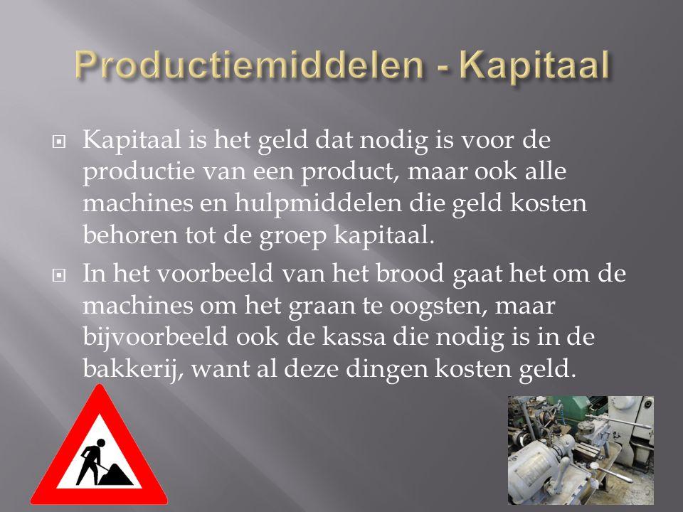  Kapitaal is het geld dat nodig is voor de productie van een product, maar ook alle machines en hulpmiddelen die geld kosten behoren tot de groep kap