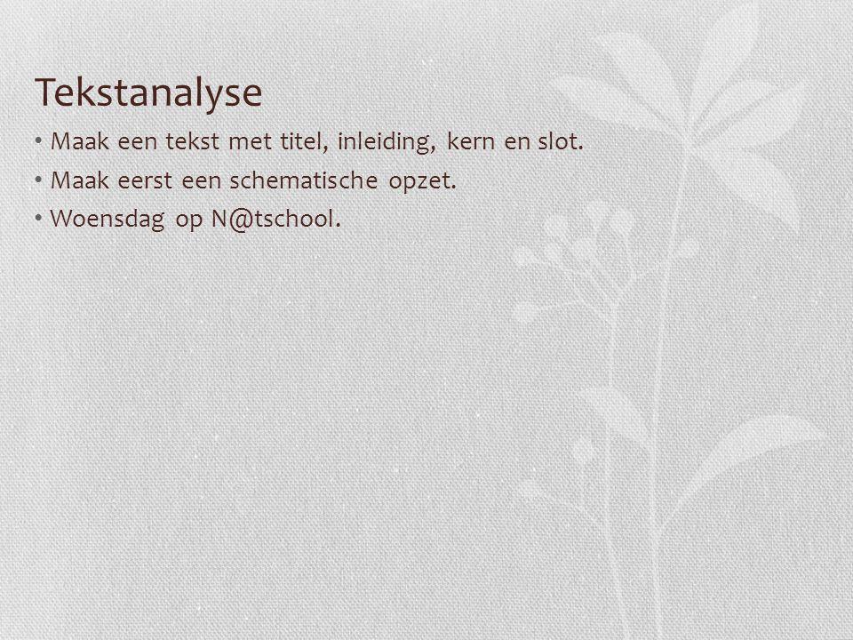 Tekstanalyse Maak een tekst met titel, inleiding, kern en slot. Maak eerst een schematische opzet. Woensdag op N@tschool.