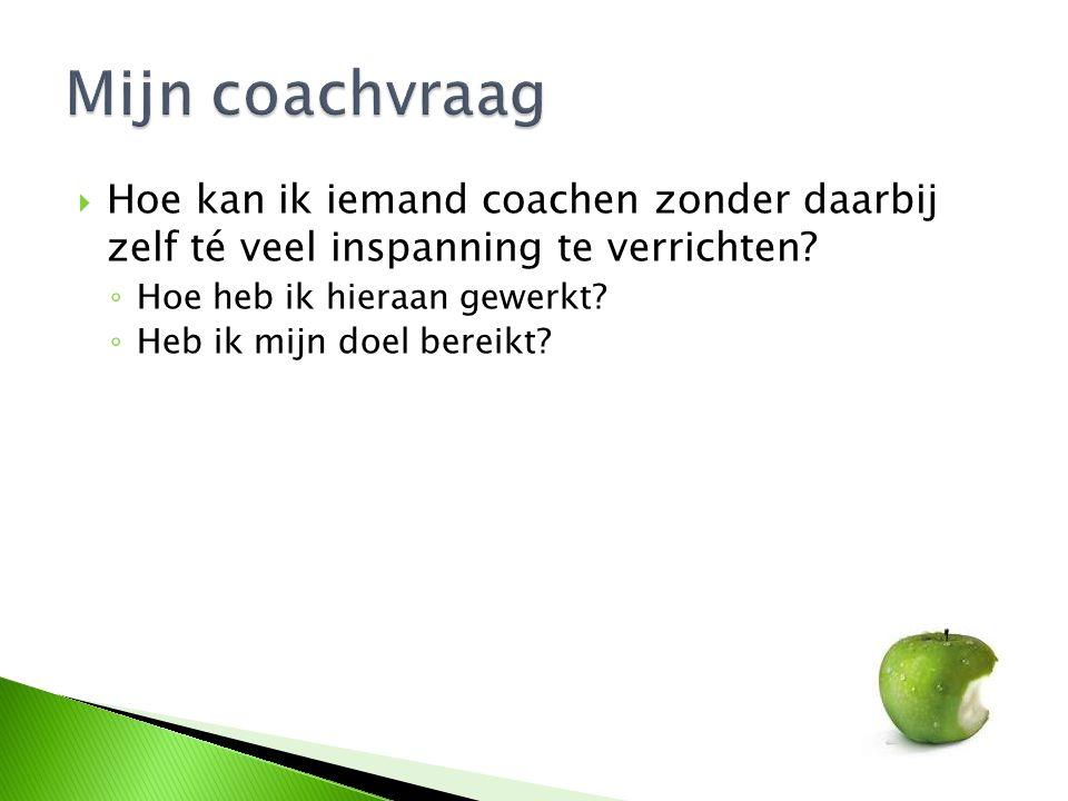  Hoe kan ik iemand coachen zonder daarbij zelf té veel inspanning te verrichten? ◦ Hoe heb ik hieraan gewerkt? ◦ Heb ik mijn doel bereikt?
