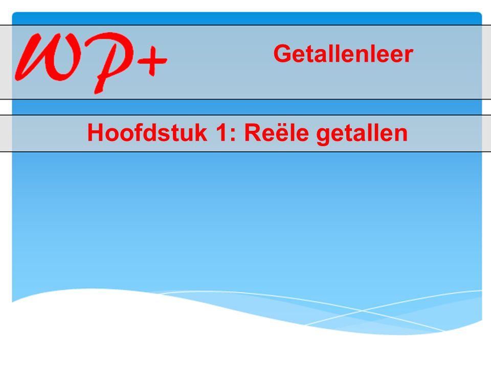 1.1.1: Schrijfwijzen van een rationaal getal  Van breuk naar decimale vorm  Je deelt de teller door de noemer: vb.: 5/8 = 0,625  Decimaal getal: de decimale vorm is begrensd (vb.: 0,264 en - 0,28)  Repeterende decimale vorm: de decimale schrijfwijze van een rationaal getal is niet begrensd  Periode: dit heeft een repeterende decimale vorm (vb.: 0,333… dan is 3 de periode)  Zuiver repeterend: repeterende decimale vormen waarvan de periode onmiddellijk na de komma begint (vb.: 0,272727…)  Gemengd repeterend: repeterende decimale vormen waarbij een niet-repeterend deel voorkomt (vb.: - 5,8777…) Menu 1.1.1: Schrijfwijzen van een rationaal getal 1.1.2: Irrationaal getal 1.1.3: Reël getal