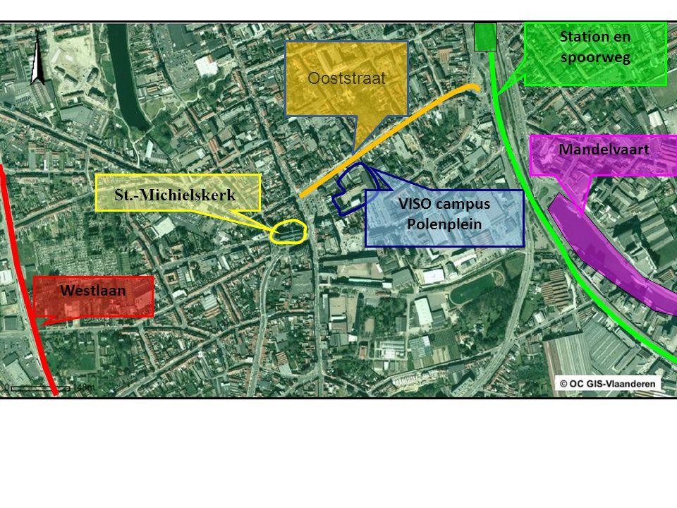 St.-Michielskerk VISO campus Polenplein Station en spoorweg Mandelvaart Westlaan Ooststraat