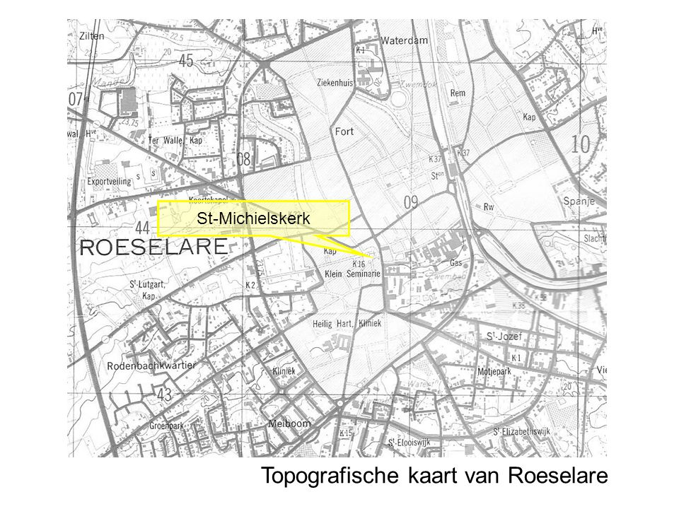 Topografische kaart van Roeselare St-Michielskerk