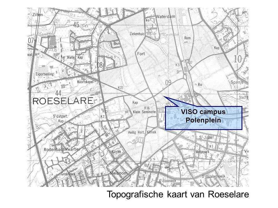 Topografische kaart van Roeselare VISO campus Polenplein