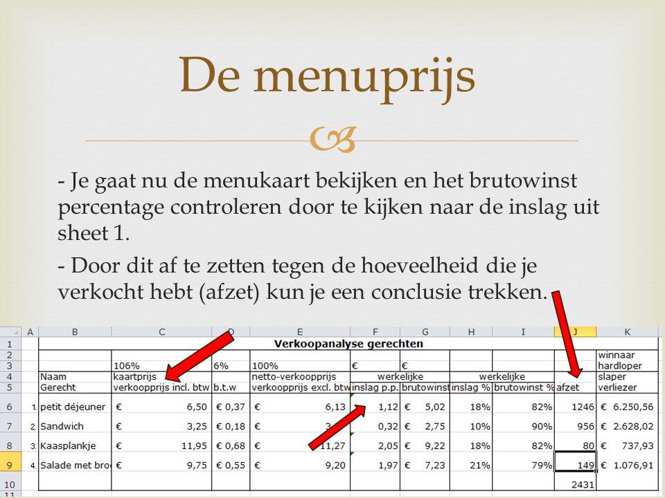  - Je gaat nu de menukaart bekijken en het brutowinst percentage controleren door te kijken naar de inslag uit sheet 1. - Door dit af te zetten tegen
