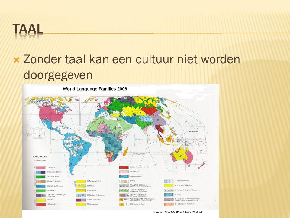  Zonder taal kan een cultuur niet worden doorgegeven