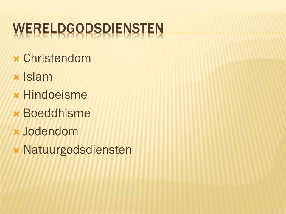  Christendom  Islam  Hindoeisme  Boeddhisme  Jodendom  Natuurgodsdiensten