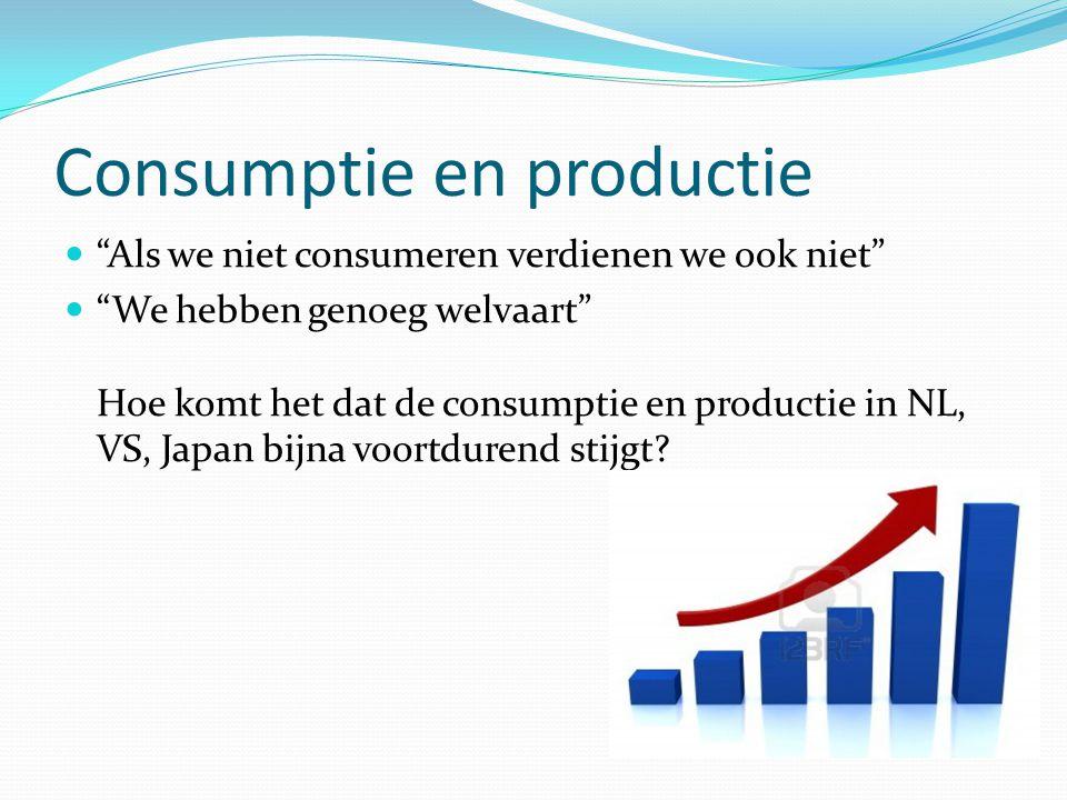 Consumptie en productie Als we niet consumeren verdienen we ook niet We hebben genoeg welvaart Hoe komt het dat de consumptie en productie in NL, VS, Japan bijna voortdurend stijgt