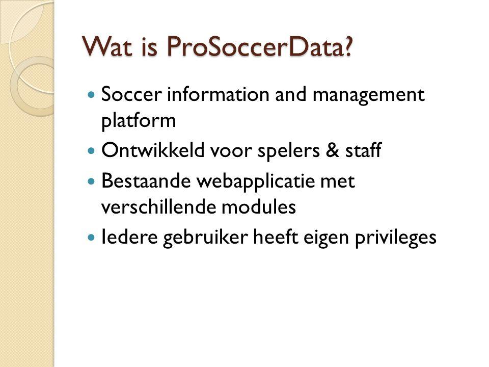 Wat is ProSoccerData? Soccer information and management platform Ontwikkeld voor spelers & staff Bestaande webapplicatie met verschillende modules Ied