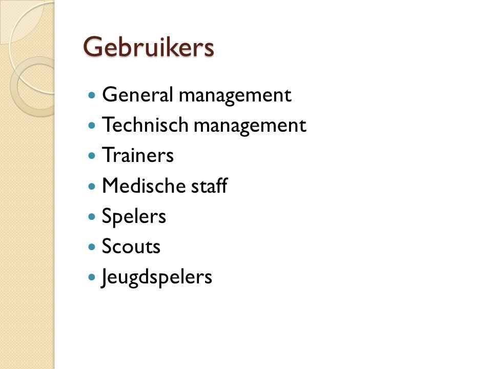 Gebruikers General management Technisch management Trainers Medische staff Spelers Scouts Jeugdspelers