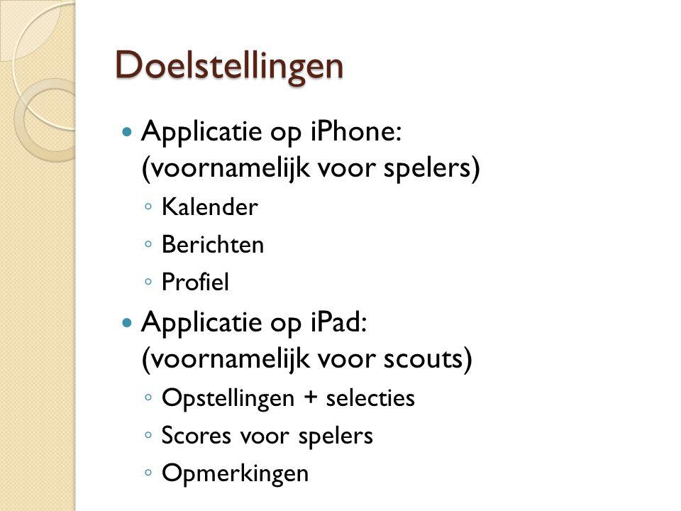Doelstellingen Applicatie op iPhone: (voornamelijk voor spelers) ◦ Kalender ◦ Berichten ◦ Profiel Applicatie op iPad: (voornamelijk voor scouts) ◦ Ops
