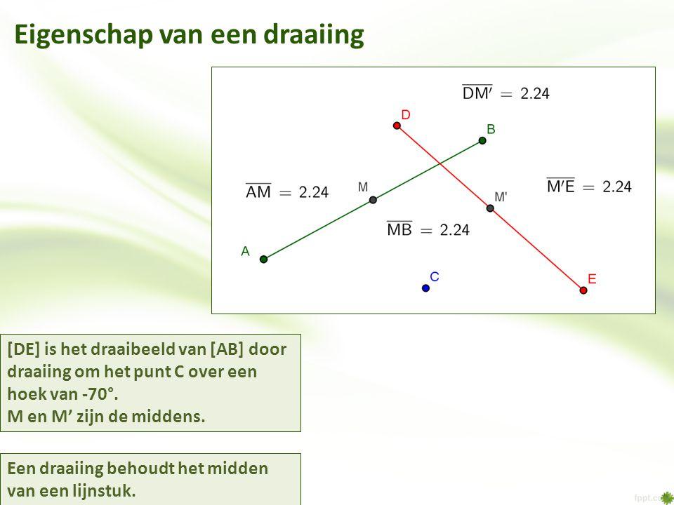 Eigenschap van een draaiing [DE] is het draaibeeld van [AB] door draaiing om het punt C over een hoek van -70°.