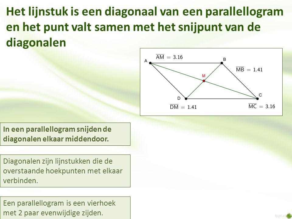 Het lijnstuk is een diagonaal van een parallellogram en het punt valt samen met het snijpunt van de diagonalen In een parallellogram snijden de diagonalen elkaar middendoor.