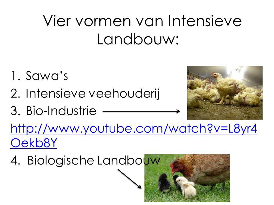 Vier vormen van Intensieve Landbouw: 1.Sawa's 2.Intensieve veehouderij 3.Bio-Industrie http://www.youtube.com/watch?v=L8yr4 Oekb8Y 4.