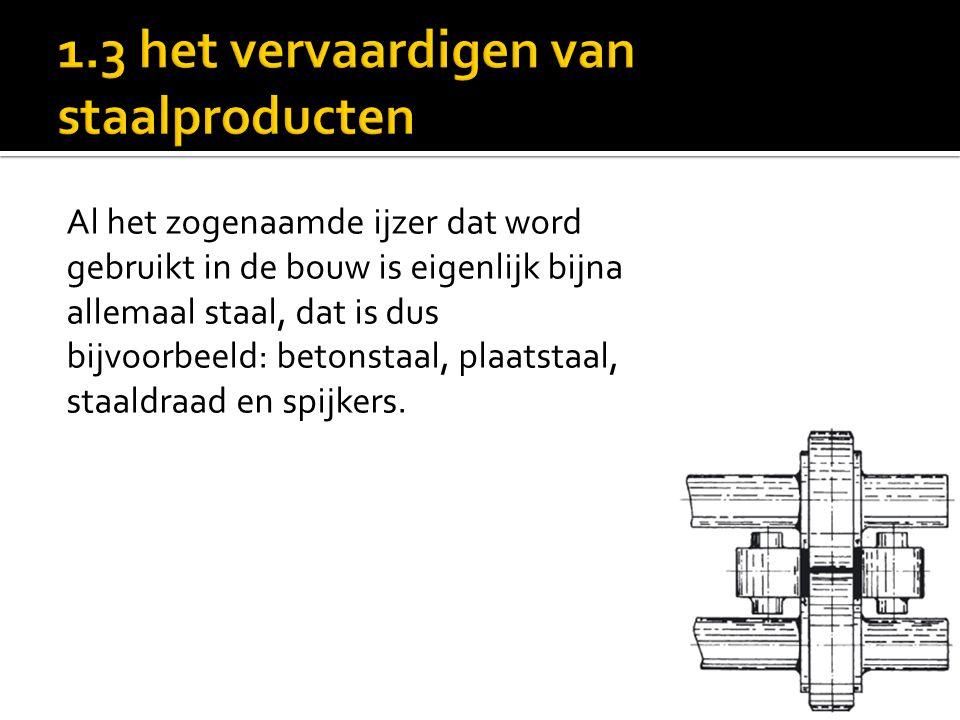 Al het zogenaamde ijzer dat word gebruikt in de bouw is eigenlijk bijna allemaal staal, dat is dus bijvoorbeeld: betonstaal, plaatstaal, staaldraad en spijkers.