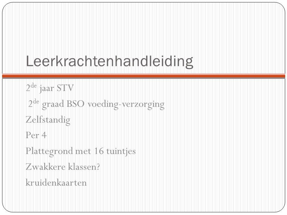 Leerkrachtenhandleiding 2 de jaar STV 2 de graad BSO voeding-verzorging Zelfstandig Per 4 Plattegrond met 16 tuintjes Zwakkere klassen? kruidenkaarten