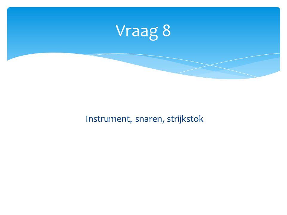 Vraag 8 Instrument, snaren, strijkstok