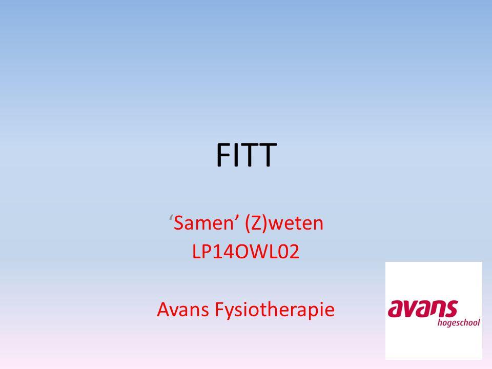 FITT 'Samen' (Z)weten LP14OWL02 Avans Fysiotherapie