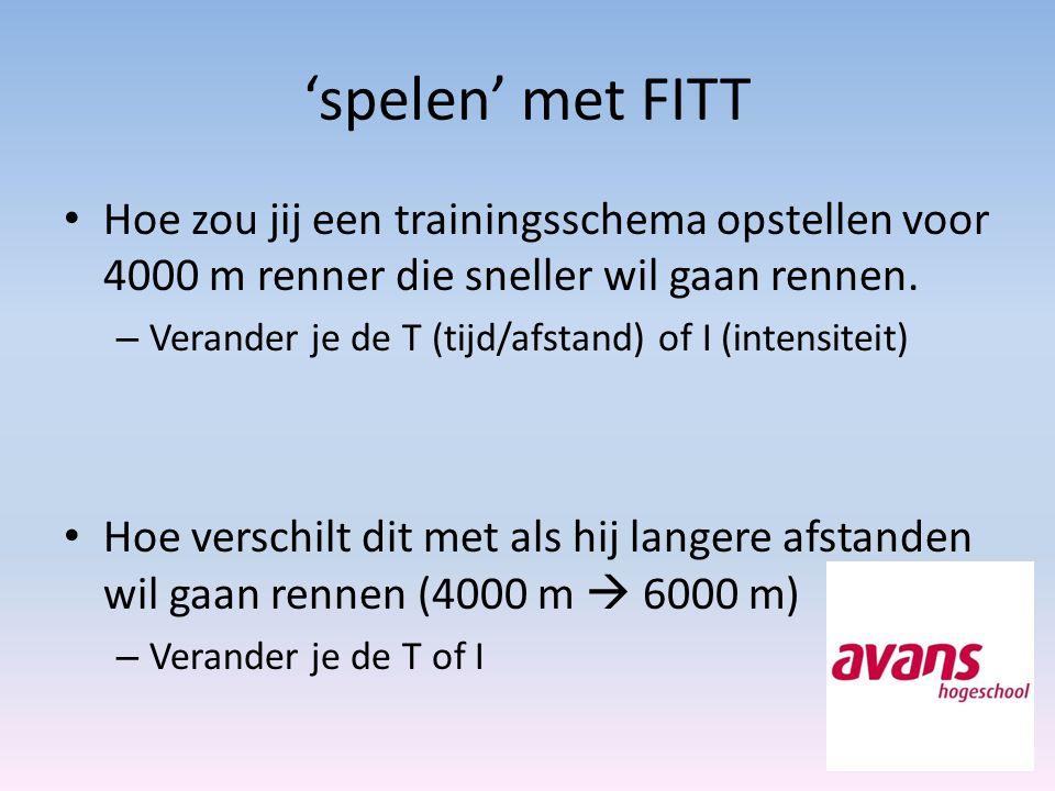 'spelen' met FITT Hoe zou jij een trainingsschema opstellen voor 4000 m renner die sneller wil gaan rennen. – Verander je de T (tijd/afstand) of I (in