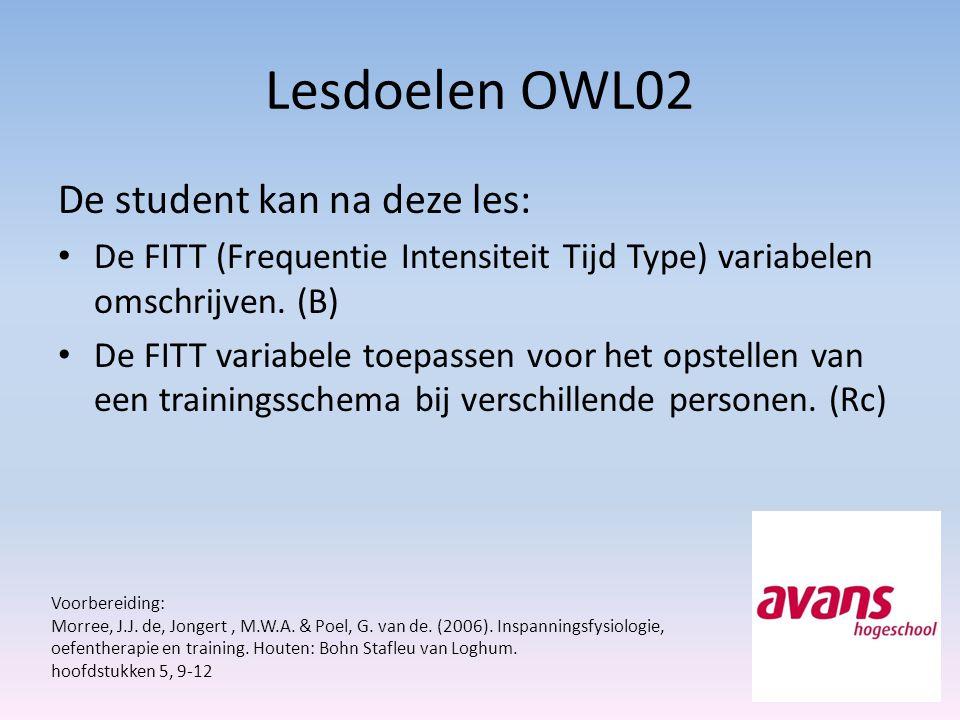 Lesdoelen OWL02 De student kan na deze les: De FITT (Frequentie Intensiteit Tijd Type) variabelen omschrijven. (B) De FITT variabele toepassen voor he