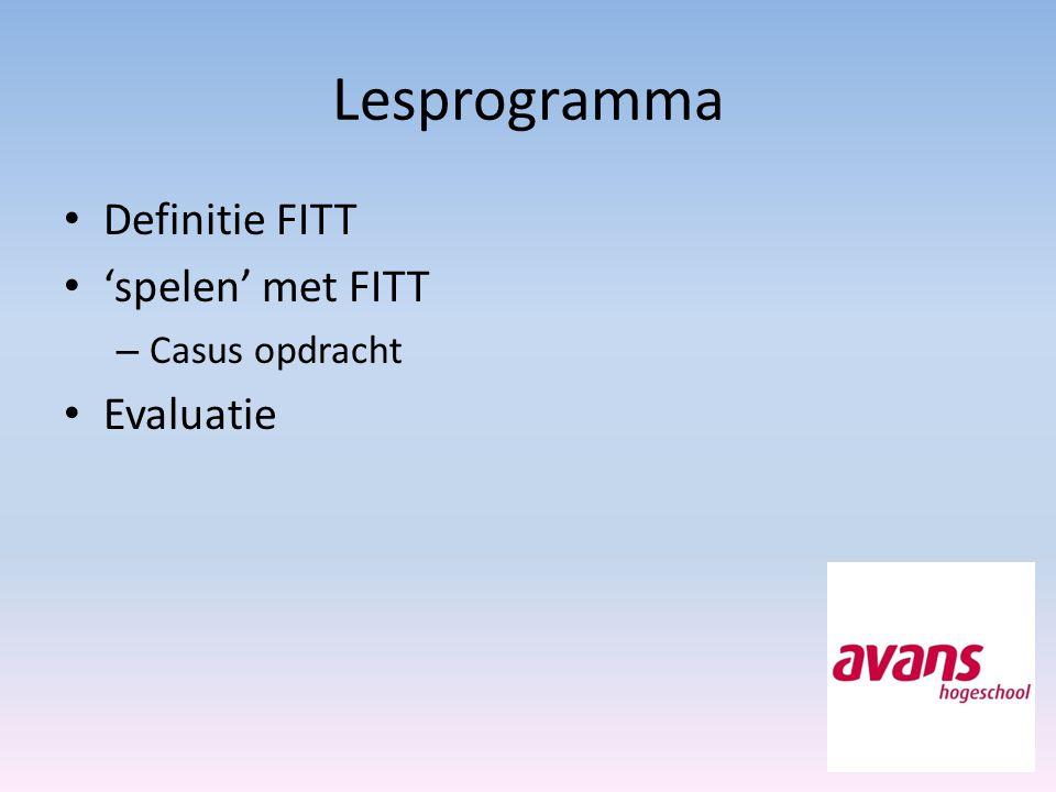 Lesprogramma Definitie FITT 'spelen' met FITT – Casus opdracht Evaluatie