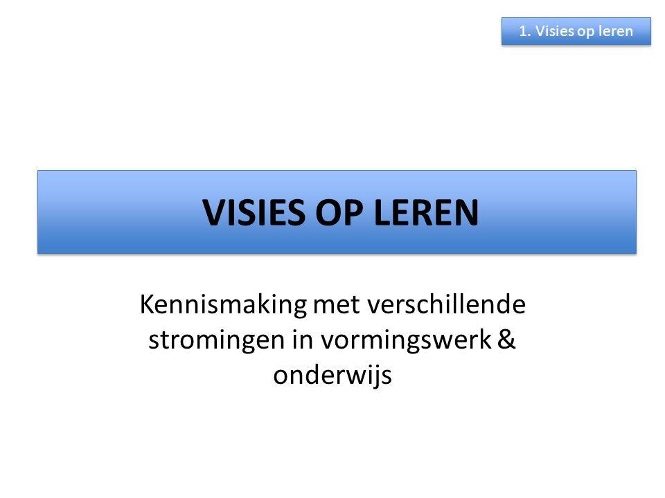 VISIES OP LEREN Kennismaking met verschillende stromingen in vormingswerk & onderwijs 1. Visies op leren VISIES OP LEREN
