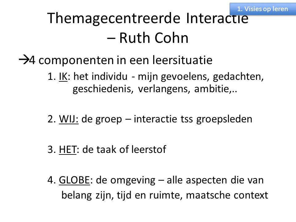 Themagecentreerde Interactie – Ruth Cohn  4 componenten in een leersituatie 1. IK: het individu - mijn gevoelens, gedachten, geschiedenis, verlangens