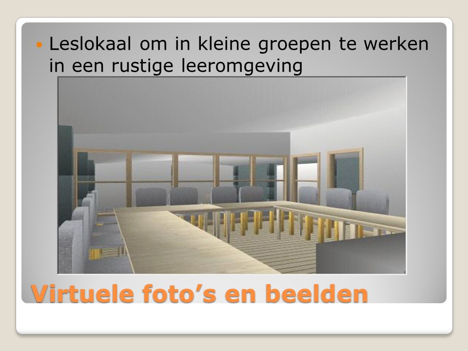 Virtuele foto's en beelden Leslokaal op bovenverdieping met ernaast een mediatheek