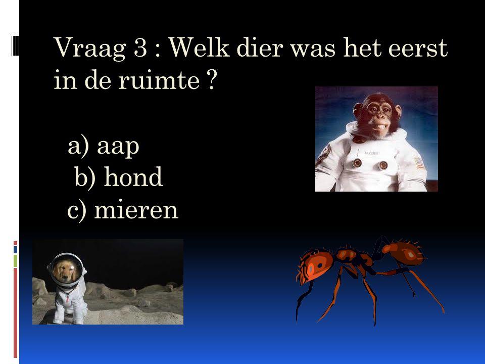 Vraag 3 : Welk dier was het eerst in de ruimte ? a) aap b) hond c) mieren