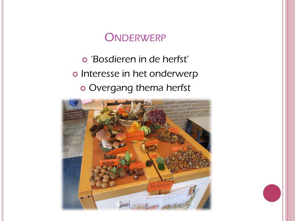 O NDERWERP 'Bosdieren in de herfst' Interesse in het onderwerp Overgang thema herfst