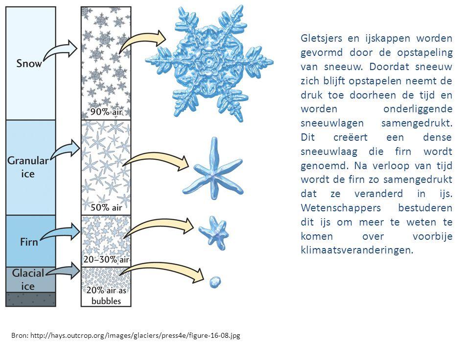 Bron: http://hays.outcrop.org/images/glaciers/press4e/figure-16-08.jpg Gletsjers en ijskappen worden gevormd door de opstapeling van sneeuw. Doordat s