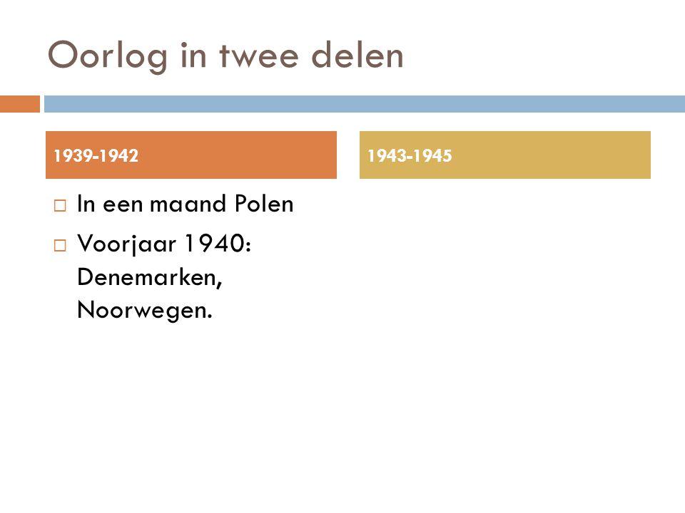 Oorlog in twee delen  In een maand Polen  Voorjaar 1940: Denemarken, Noorwegen. 1939-19421943-1945