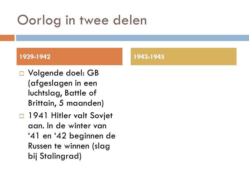 Oorlog in twee delen  Volgende doel: GB (afgeslagen in een luchtslag, Battle of Brittain, 5 maanden)  1941 Hitler valt Sovjet aan. In de winter van